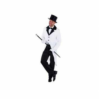 Witte lange jas voor carnaval