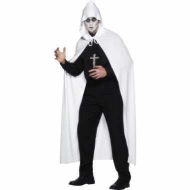 Witte omslag cape van 119 cm voor carnaval