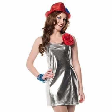 Zilveren dames jurkjes disco stijl voor carnaval