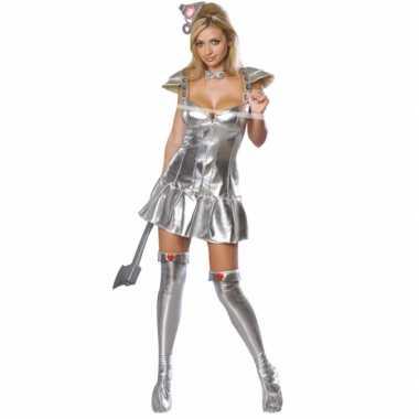 Zilveren tinnen kostuum vrouw voor carnaval
