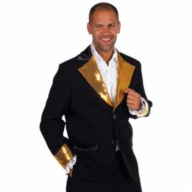 Zwart /goud glitter jas heren voor carnaval