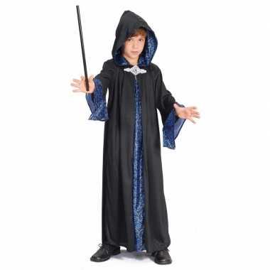 Zwart met blauwe tovenaars mantel kids voor carnaval