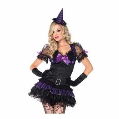 Zwart/paars heksen kostuum voor carnaval