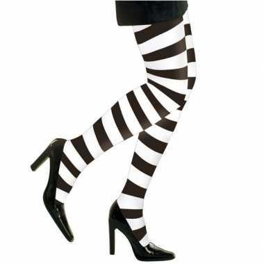 Zwart/witte dames panty strepen voor carnaval