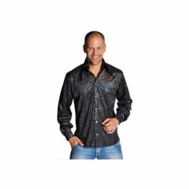 Zwarte disco overhemden heren