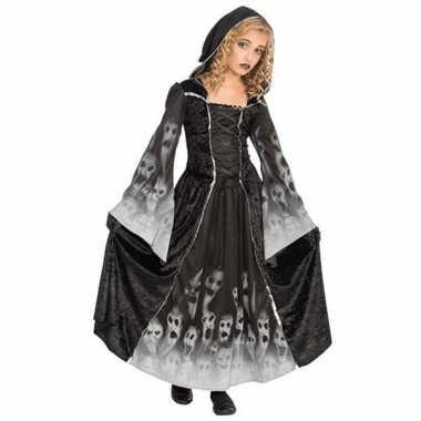 Zwarte gothic jurk voor meiden carnaval