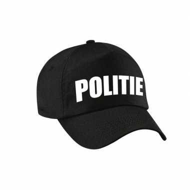 Zwarte politie agent verkleed pet / cap voor kinderen carnaval
