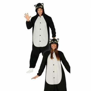 Zwarte/witte kat jumpsuit met capuchon voor dames carnaval