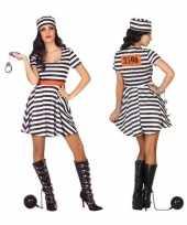 Carnaval feest boeven gevangenen bonnie verkleedoutfit jurkje voor dames