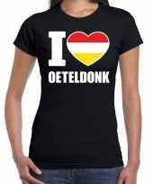 Carnaval i love oeteldonk t-shirt zwart voor dames