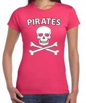 Carnavalskleding fout piraten shirt roze dames