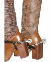 Cowboy laarzen sporen zilver plastic
