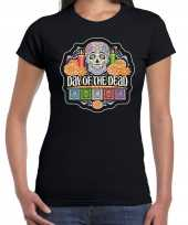 Day of the dead dag van de doden halloween verkleed t-shirt outfit zwart voor dames