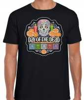 Day of the dead dag van de doden halloween verkleed t-shirt outfit zwart voor heren