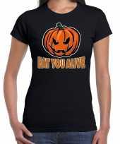 Halloween eat you alive verkleed t-shirt zwart voor dames