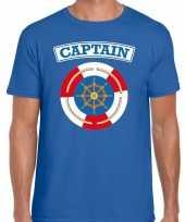 Kapitein captain verkleed t-shirt blauw voor heren