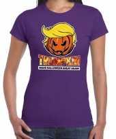 Trumpkin make halloween great again t-shirt paars voor dames