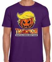 Trumpkin make halloween great again t-shirt paars voor heren