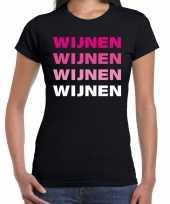 Wijnen wijnen wijnen wijnen t-shirt zwart voor dames
